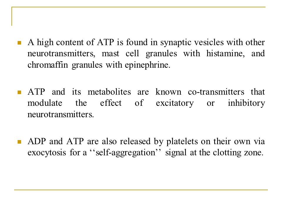 A high content of ATP is found in synaptic vesicles with other neurotransmitters, mast cell granules with histamine, and chromaffin granules with epinephrine.