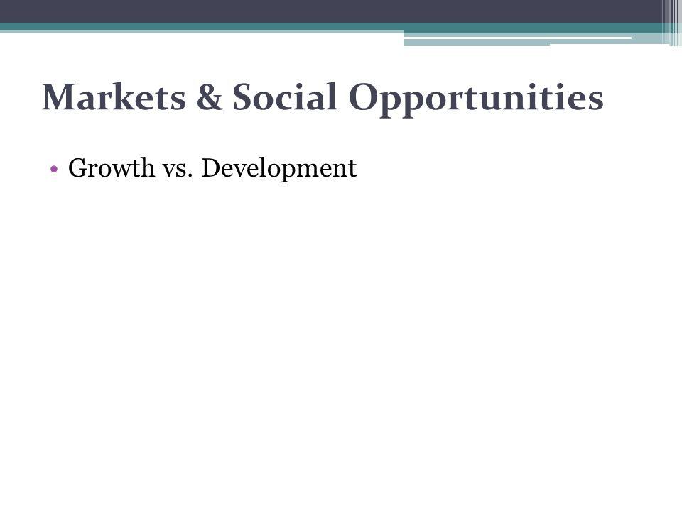 Markets & Social Opportunities Growth vs. Development