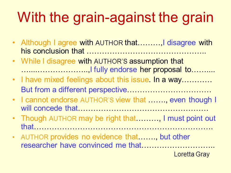With the grain-against the grain Although I agree with AUTHOR that………,I disagree with his conclusion that ………………………………………..