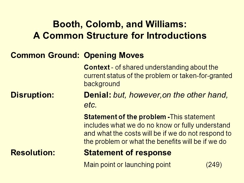 Booth, Colomb, and Williams: A Common Structure for Introductions Common Ground:Opening Moves Context - of shared understanding about the current stat