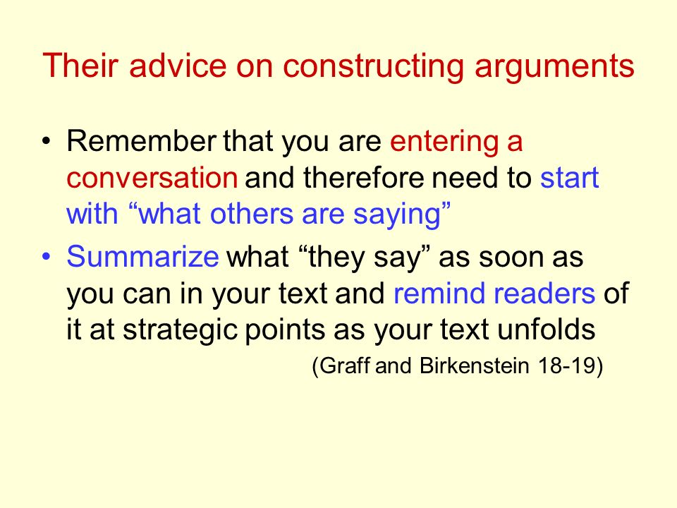 Their advice on constructing arguments Remember that you are entering a conversation and therefore need to start with what others are saying Summarize what they say as soon as you can in your text and remind readers of it at strategic points as your text unfolds (Graff and Birkenstein 18-19)