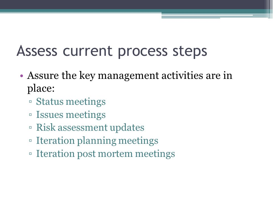 Assess current process steps Assure the key management activities are in place: Status meetings Issues meetings Risk assessment updates Iteration plan