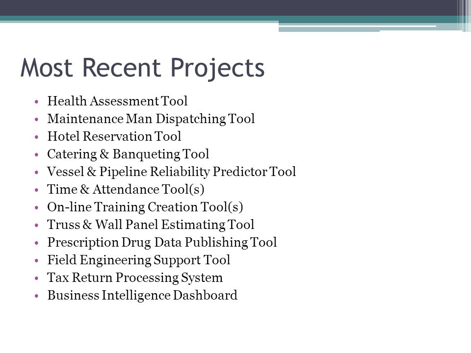 These are the activities I perform most often for each project.
