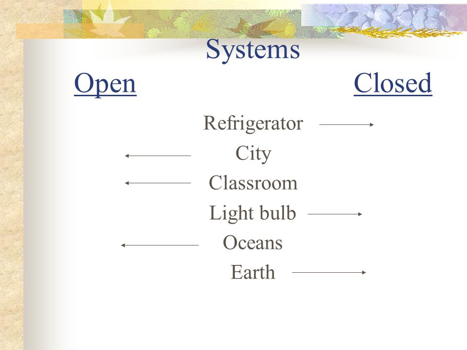 Systems Open Closed Refrigerator City Classroom Light bulb Oceans Earth