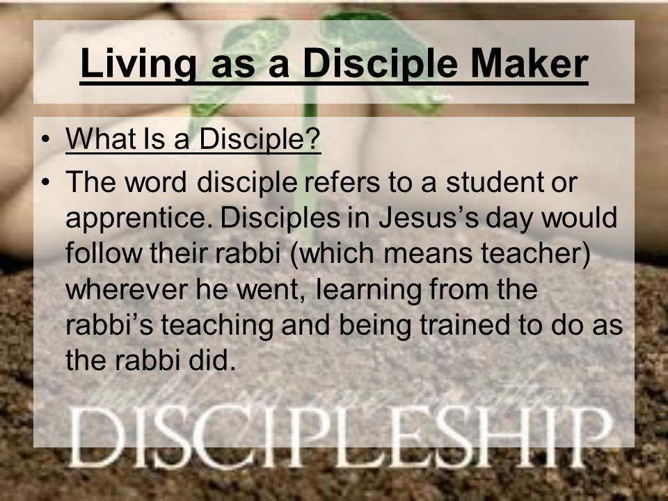 Living as a Disciple Maker What Is a Disciple? The word disciple refers to a student or apprentice. Disciples in Jesuss day would follow their rabbi (