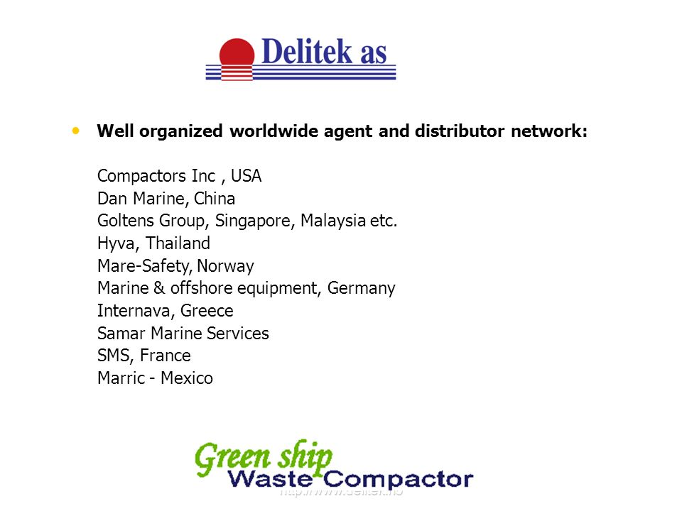 http://www.delitek.no DT-200i waste compactor (New) Our new indoor solution Stainless steel construction Multiple container system (as DT-500/1500) HD plastic bag.