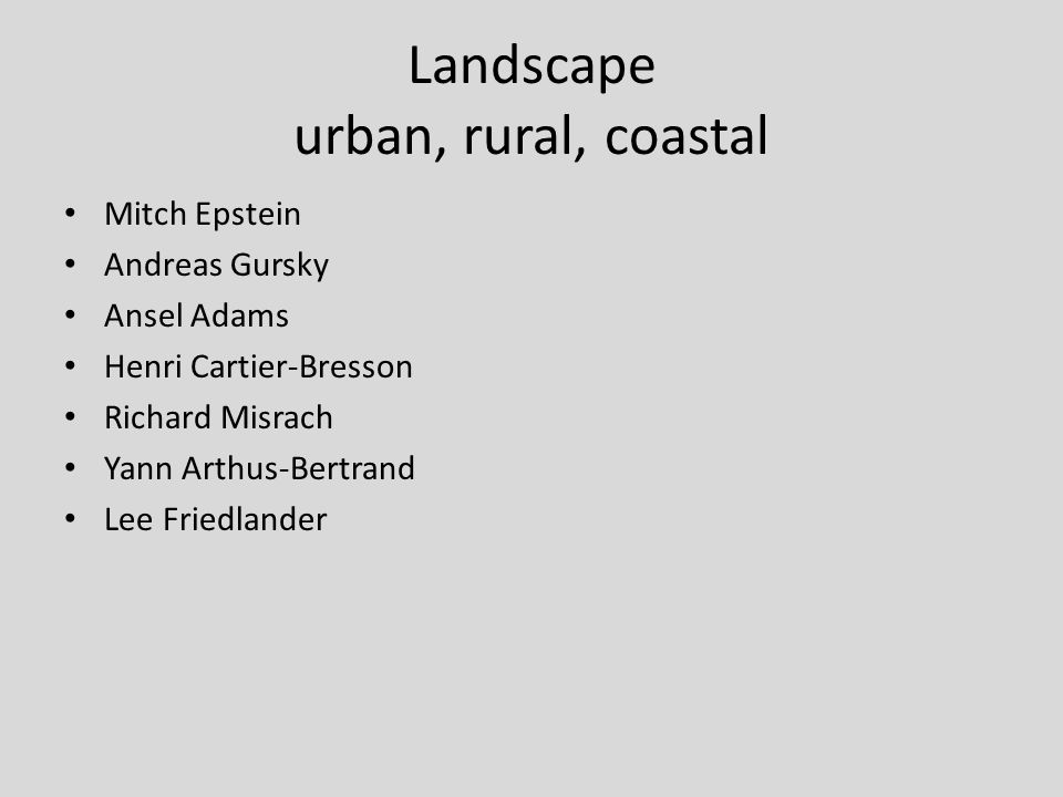 Landscape urban, rural, coastal Mitch Epstein Andreas Gursky Ansel Adams Henri Cartier-Bresson Richard Misrach Yann Arthus-Bertrand Lee Friedlander