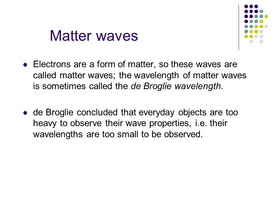 Matter waves Electrons are a form of matter, so these waves are called matter waves; the wavelength of matter waves is sometimes called the de Broglie