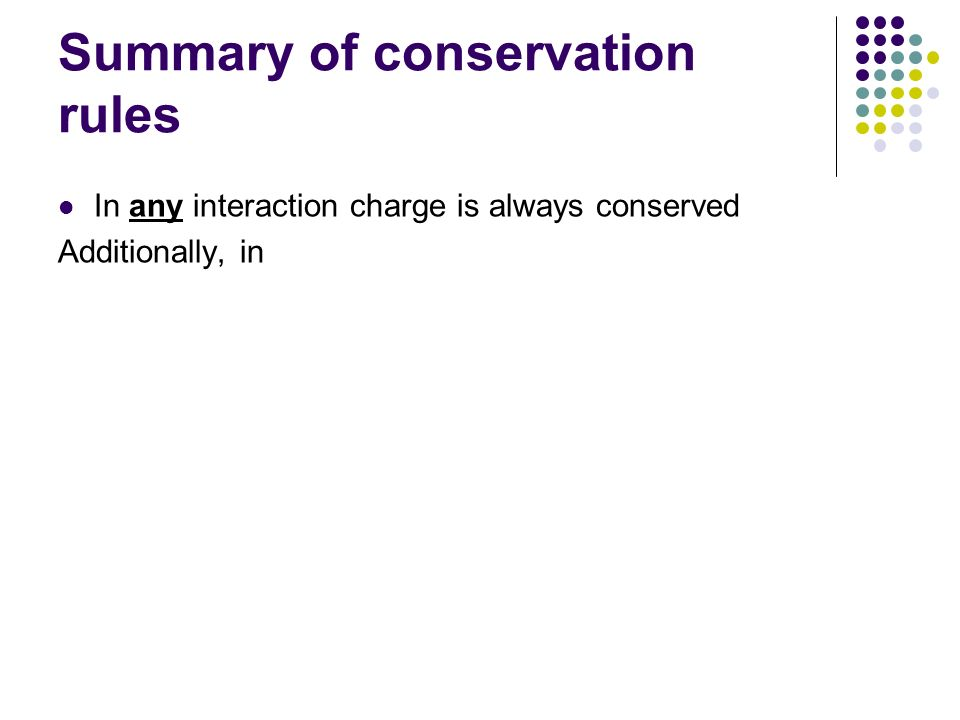 Summary of conservation rules In any interaction charge is always conserved Additionally, in