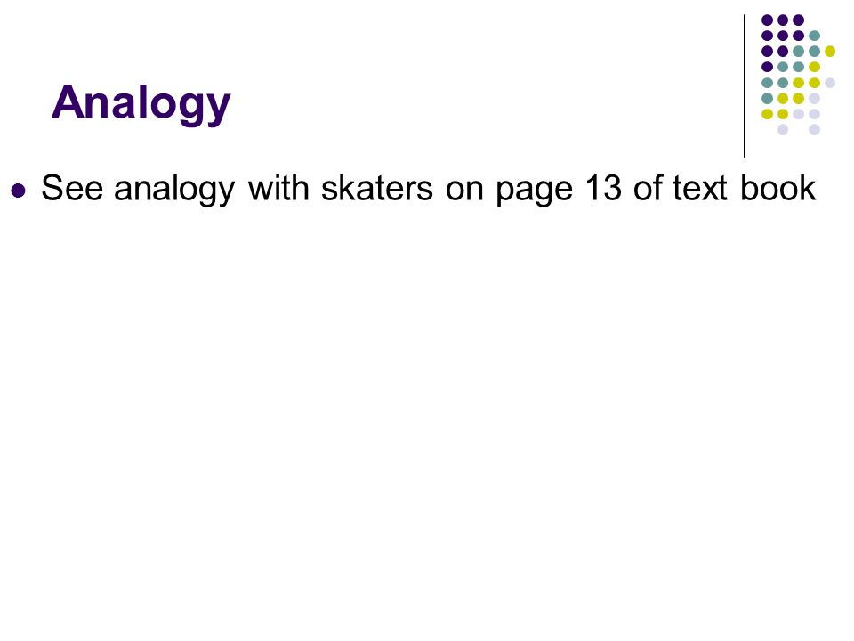 Analogy See analogy with skaters on page 13 of text book