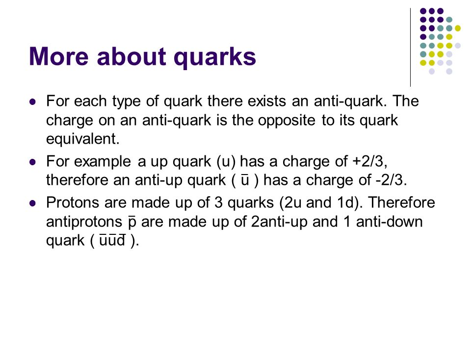 More about quarks For each type of quark there exists an anti-quark. The charge on an anti-quark is the opposite to its quark equivalent. For example