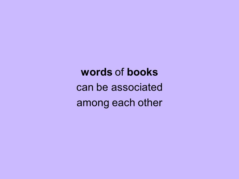 words of books can be associated among each other