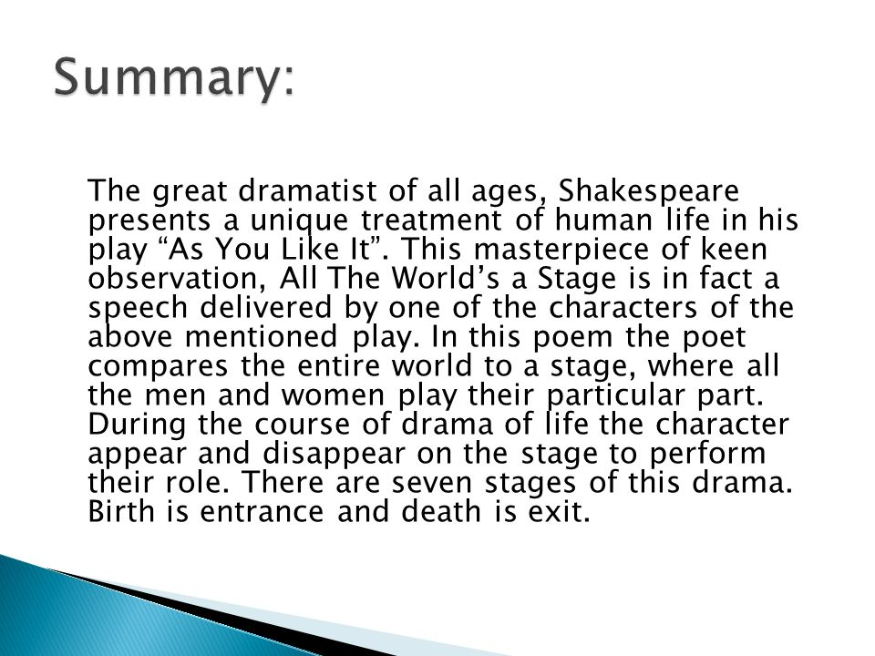 The great dramatist of all ages, Shakespeare presents a unique treatment of human life in his play As You Like It. This masterpiece of keen observatio