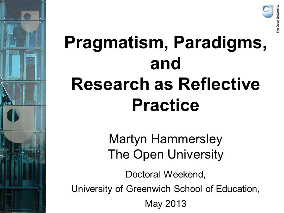 Three Conceptions of the Proper Nature of Social and Educational Research Research as pragmatic Research as paradigm-specific Research as reflective practice