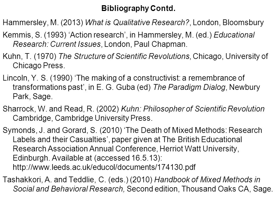 Bibliography Contd. Hammersley, M. (2013) What is Qualitative Research?, London, Bloomsbury Kemmis, S. (1993) Action research, in Hammersley, M. (ed.)
