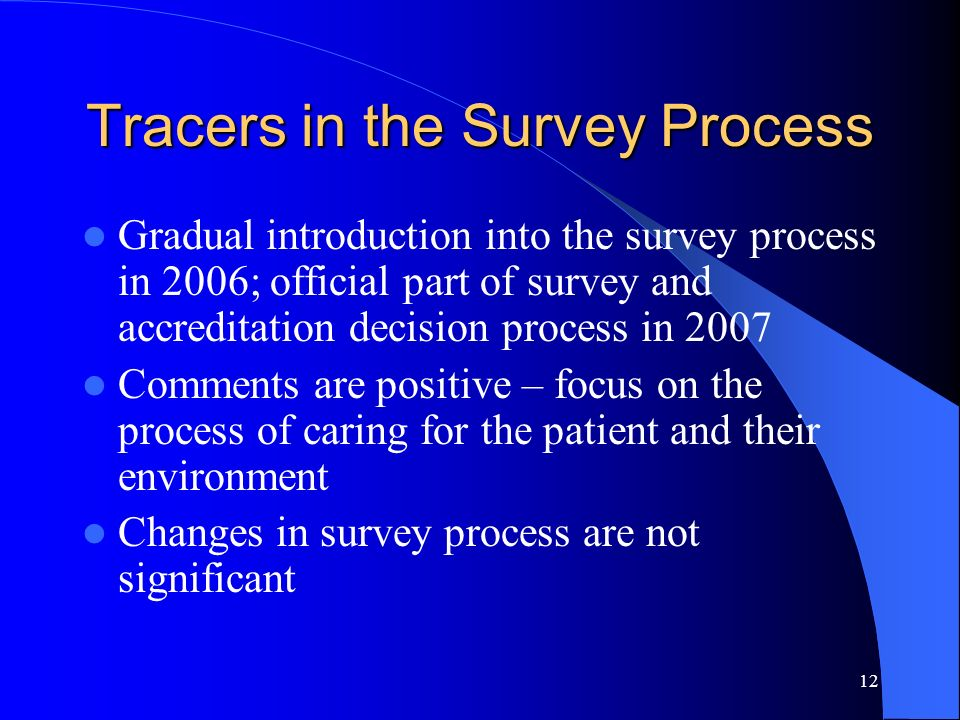 12 Tracers in the Survey Process Gradual introduction into the survey process in 2006; official part of survey and accreditation decision process in 2
