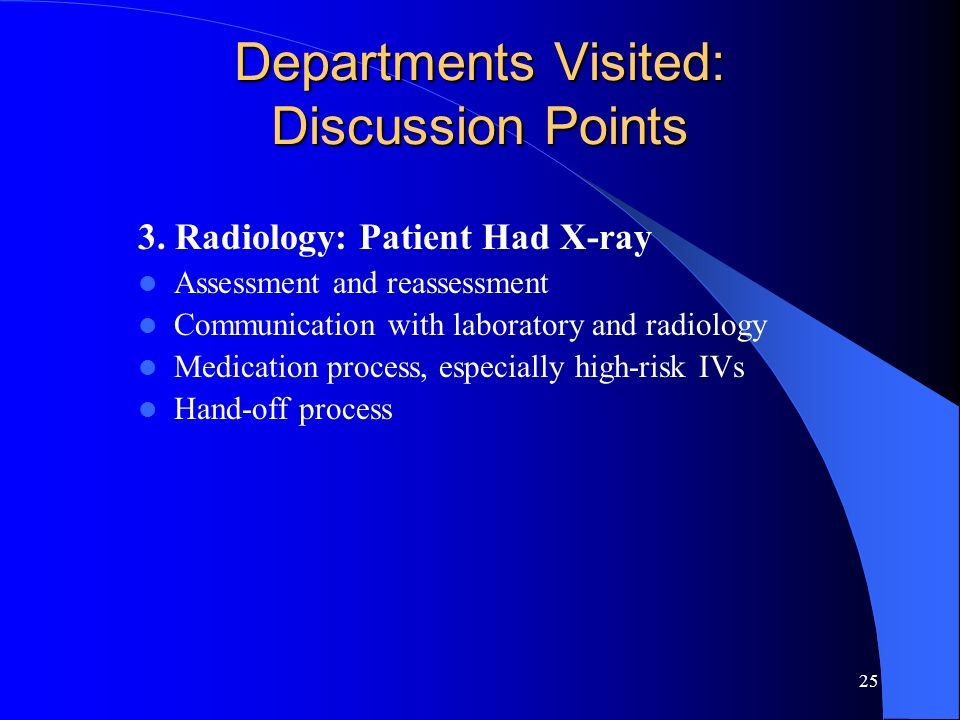 25 Departments Visited: Discussion Points 3. Radiology: Patient Had X-ray Assessment and reassessment Communication with laboratory and radiology Medi
