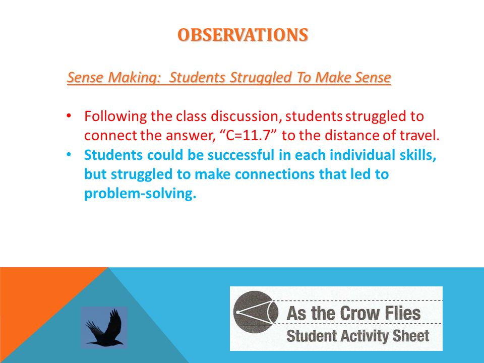 OBSERVATIONS Sense Making: Students Struggled To Make Sense Sense Making: Students Struggled To Make Sense Following the class discussion, students st