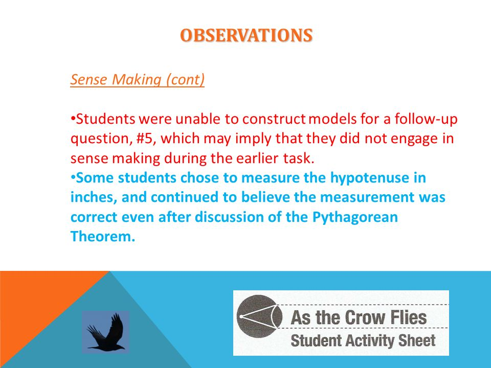 OBSERVATIONS Sense Making (cont) Students were unable to construct models for a follow-up question, #5, which may imply that they did not engage in se