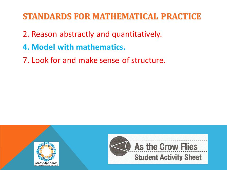 STANDARDS FOR MATHEMATICAL PRACTICE 2. Reason abstractly and quantitatively. 4. Model with mathematics. 7. Look for and make sense of structure.