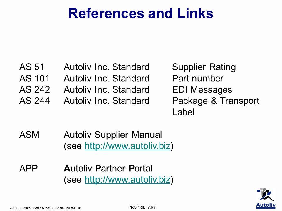 30-June-2005 – AHO-Q/SM and AHO-PU/HJ - 49 PROPRIETARY References and Links AS 51Autoliv Inc.