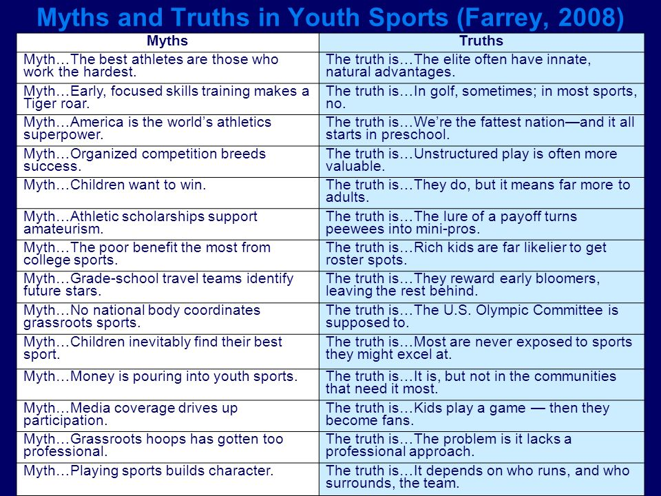 Myths and Truths in Youth Sports (Farrey, 2008) MythsTruths Myth…The best athletes are those who work the hardest. The truth is…The elite often have i