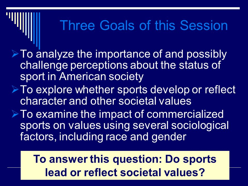 Three Goals of this Session To analyze the importance of and possibly challenge perceptions about the status of sport in American society To explore w