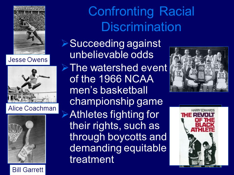 Confronting Racial Discrimination Succeeding against unbelievable odds The watershed event of the 1966 NCAA mens basketball championship game Athletes