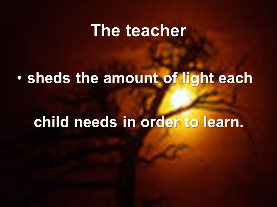 Page 7 The teacher sheds the amount of light eachsheds the amount of light each child needs in order to learn.