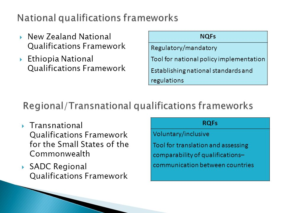 New Zealand National Qualifications Framework Ethiopia National Qualifications Framework NQFs Regulatory/mandatory Tool for national policy implementa