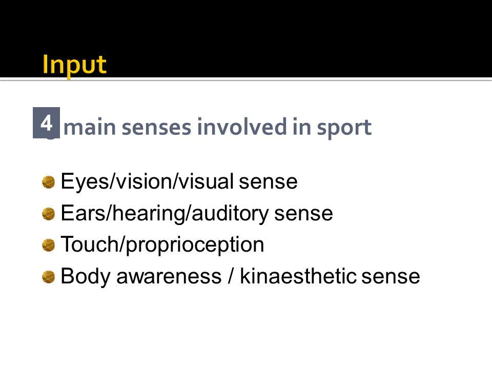 3 main senses involved in sport 4 Eyes/vision/visual sense Ears/hearing/auditory sense Touch/proprioception Body awareness / kinaesthetic sense