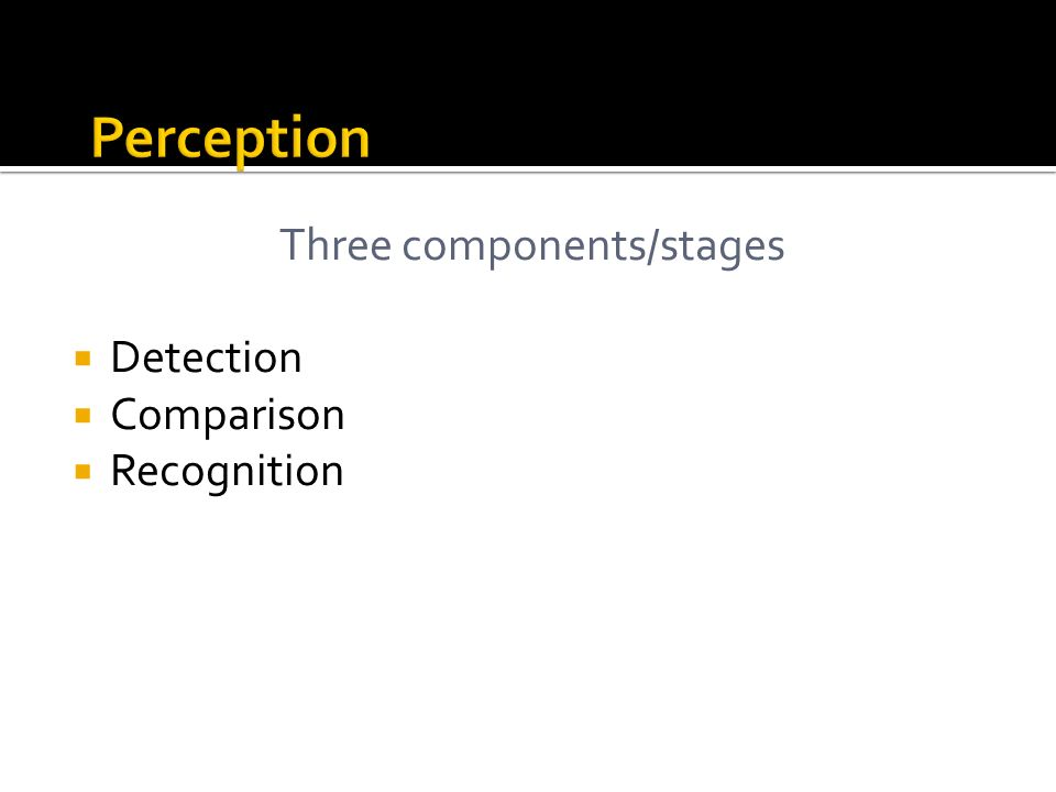 Three components/stages Detection Comparison Recognition