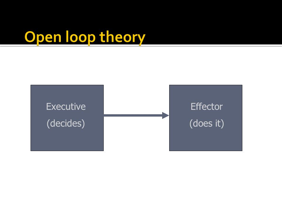 Executive (decides) Effector (does it)