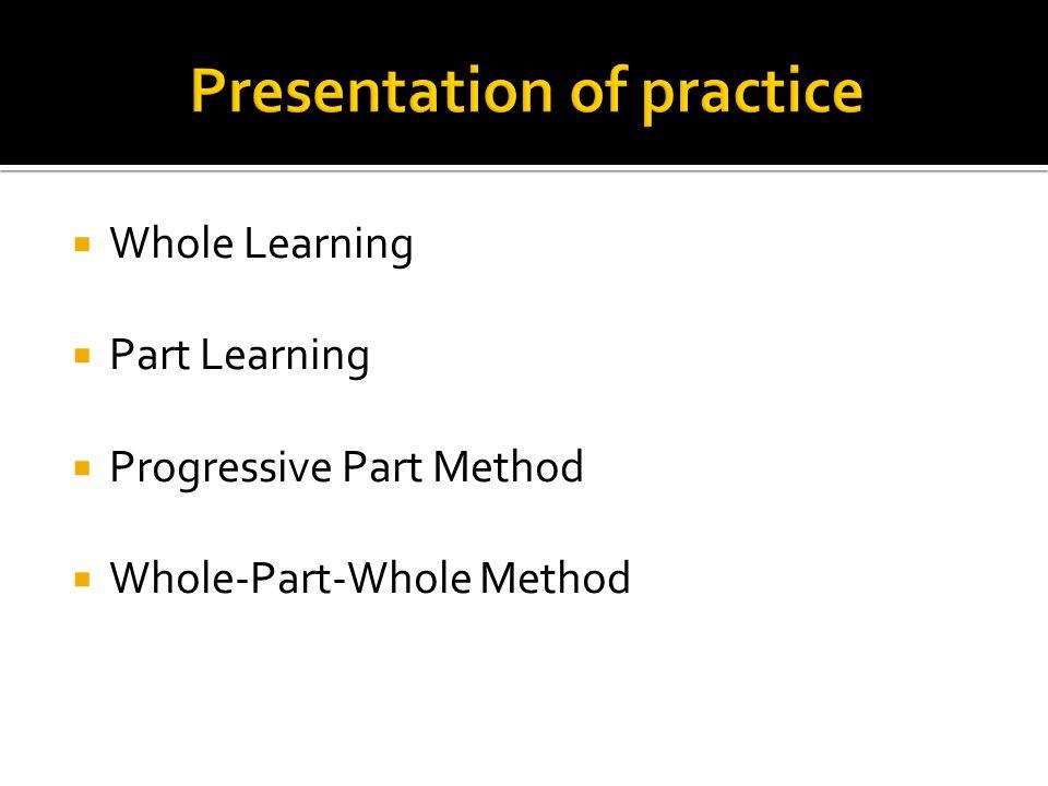 Whole Learning Part Learning Progressive Part Method Whole-Part-Whole Method