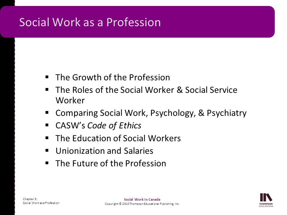 - - - - - - - - - - - - - - - - - - - - - - - - - - - - - - - - - - - - - - - - - - - - - - - - - - - - - Chapter 5: Social Work as a Profession Social Work In Canada Copyright © 2010 Thompson Educational Publishing, Inc.