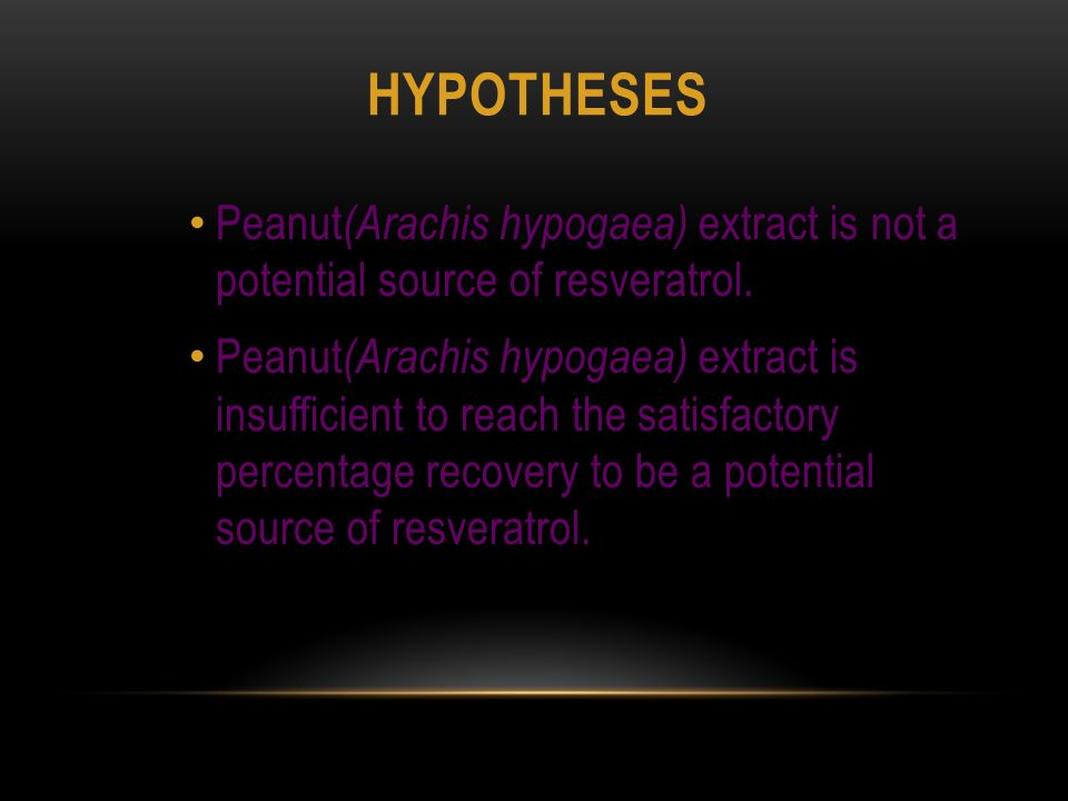 HYPOTHESES Peanut (Arachis hypogaea) extract is not a potential source of resveratrol.