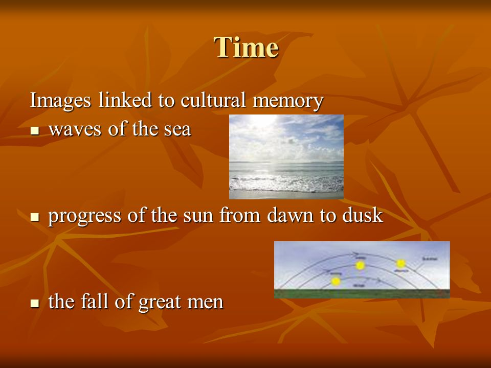 Time Images linked to cultural memory waves of the sea waves of the sea progress of the sun from dawn to dusk progress of the sun from dawn to dusk the fall of great men the fall of great men