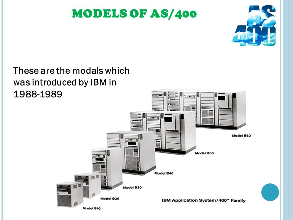 MODELS OF AS/400 These are the modals which was introduced by IBM in 1988-1989