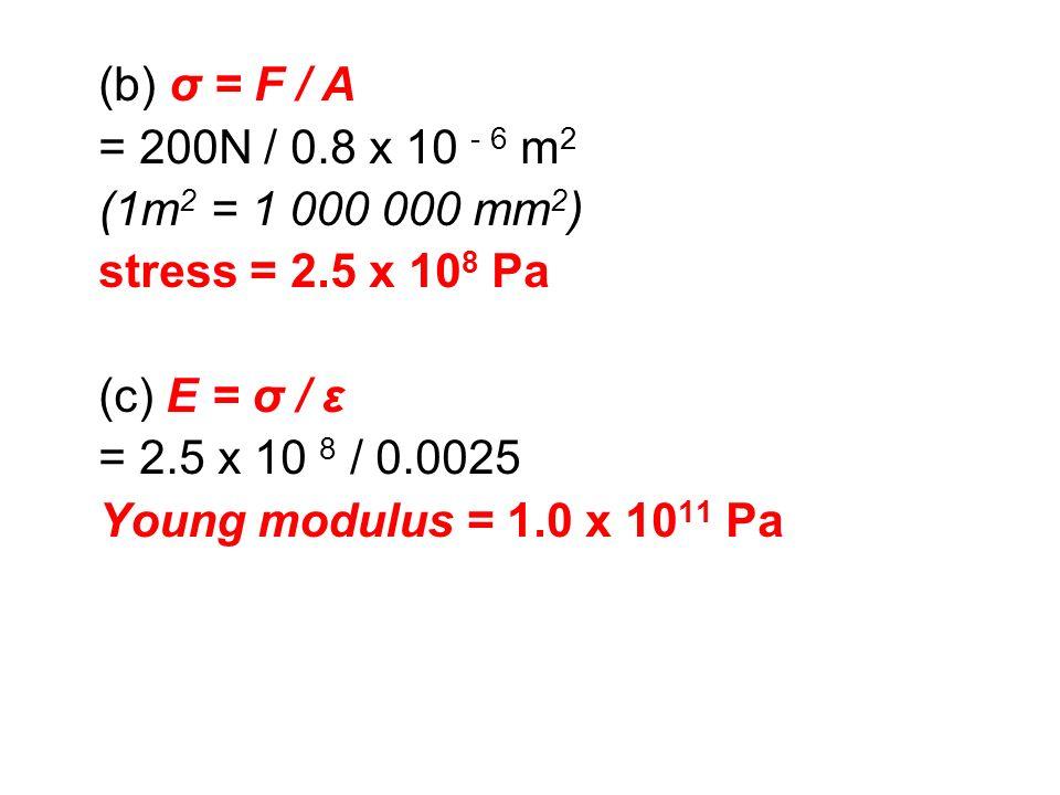 (b) σ = F / A = 200N / 0.8 x 10 - 6 m 2 (1m 2 = 1 000 000 mm 2 ) stress = 2.5 x 10 8 Pa (c) E = σ / ε = 2.5 x 10 8 / 0.0025 Young modulus = 1.0 x 10 1