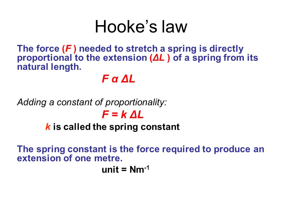 Hookes law The force (F ) needed to stretch a spring is directly proportional to the extension (ΔL ) of a spring from its natural length. F α ΔL Addin