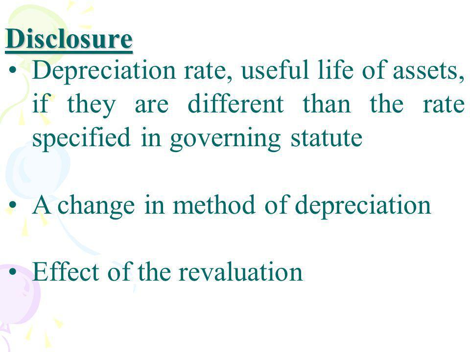 Disclosure Depreciation rate, useful life of assets, if they are different than the rate specified in governing statute A change in method of deprecia
