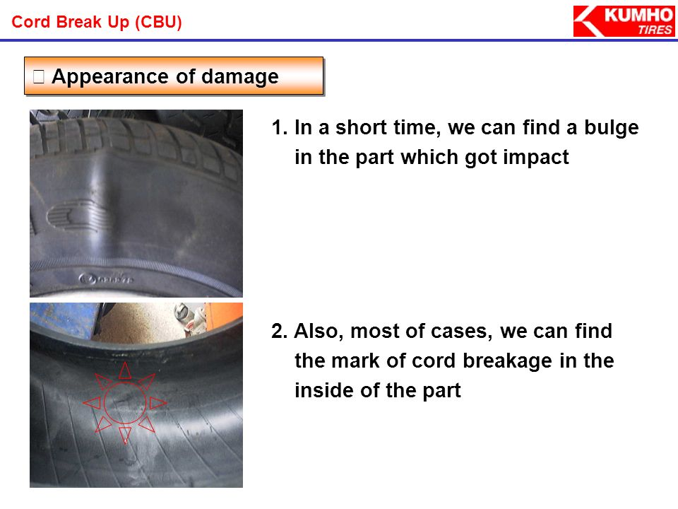 - A puddle or hole on the road Probable Causes Cord Break Up (CBU)