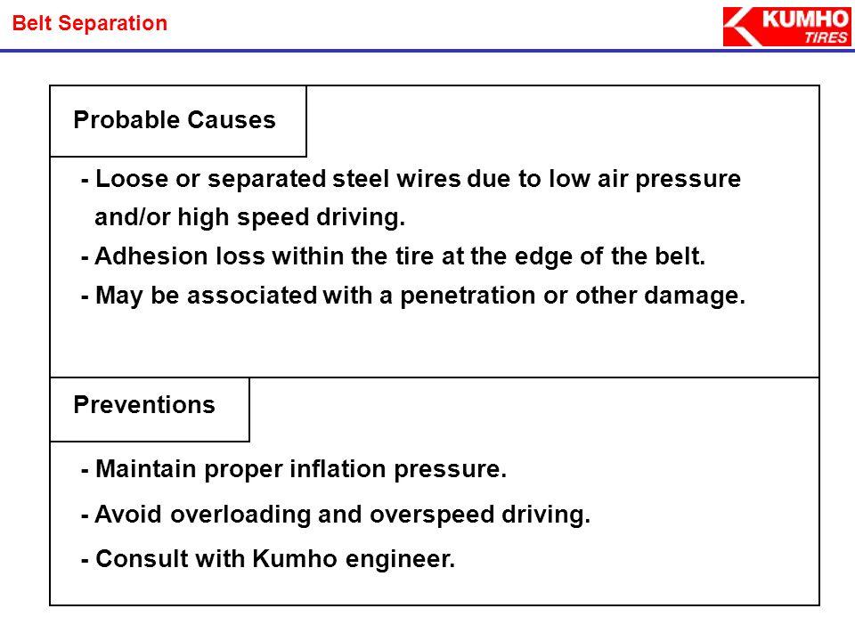 Appearance Photos PC & LT Tires - Belt Separation A bulge or split through the upper shoulder & tread area