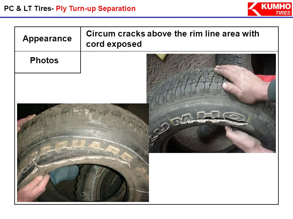 Probable Causes Preventions Tread & Shoulder Separation(Bias Tire) - It is mainly due to underinflation. - The cause is overheating of the tire due to