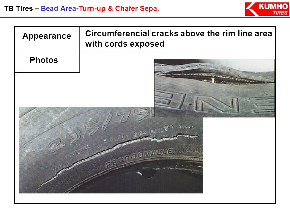 Probable Causes Preventions Bead Area - Bead Deformation & Burst - Rusty rims, improper bead lubrication, and bent or damaged rims which result in imp