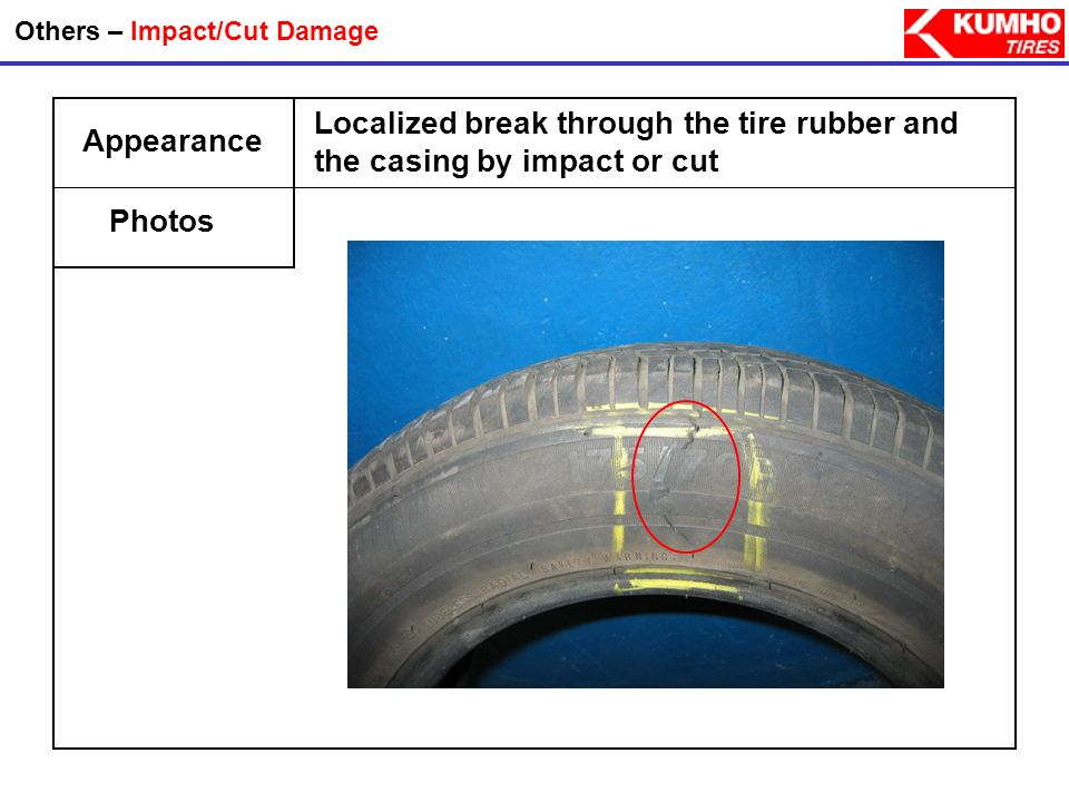 Appearance Photos Others – Impact/Cut Damage Localized break through the tire rubber and the casing by impact or cut