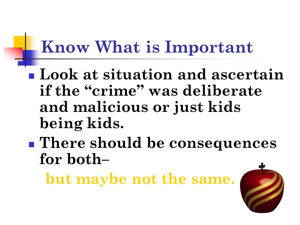 Know What is Important Look at situation and ascertain if the crime was deliberate and malicious or just kids being kids.