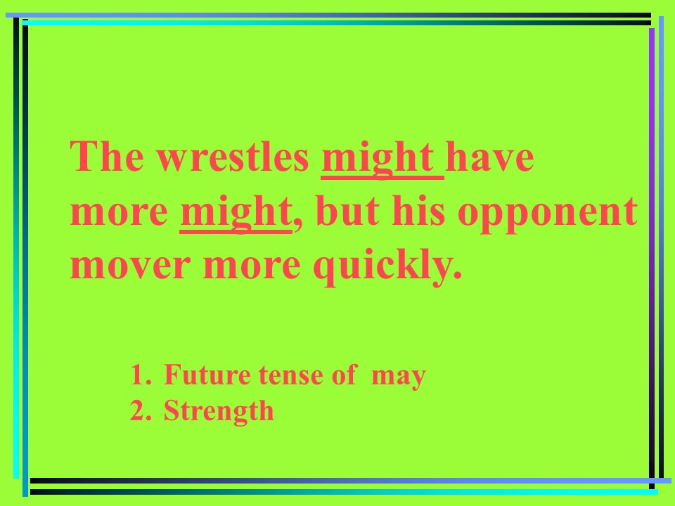 1.Future tense of may 2.Strength