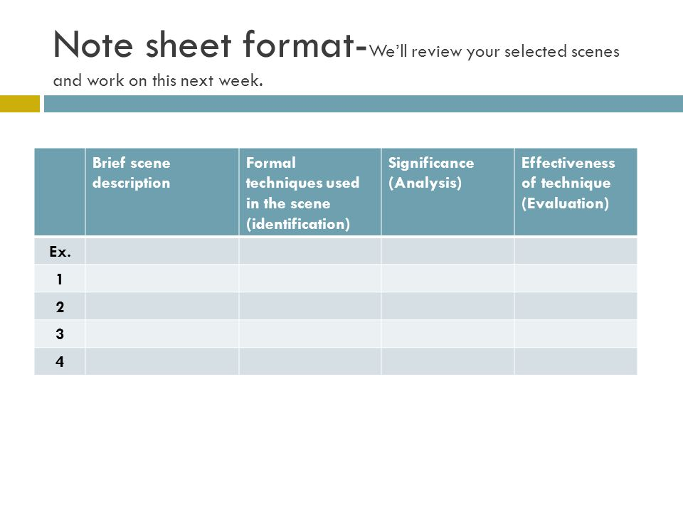 Note sheet format- Well review your selected scenes and work on this next week.