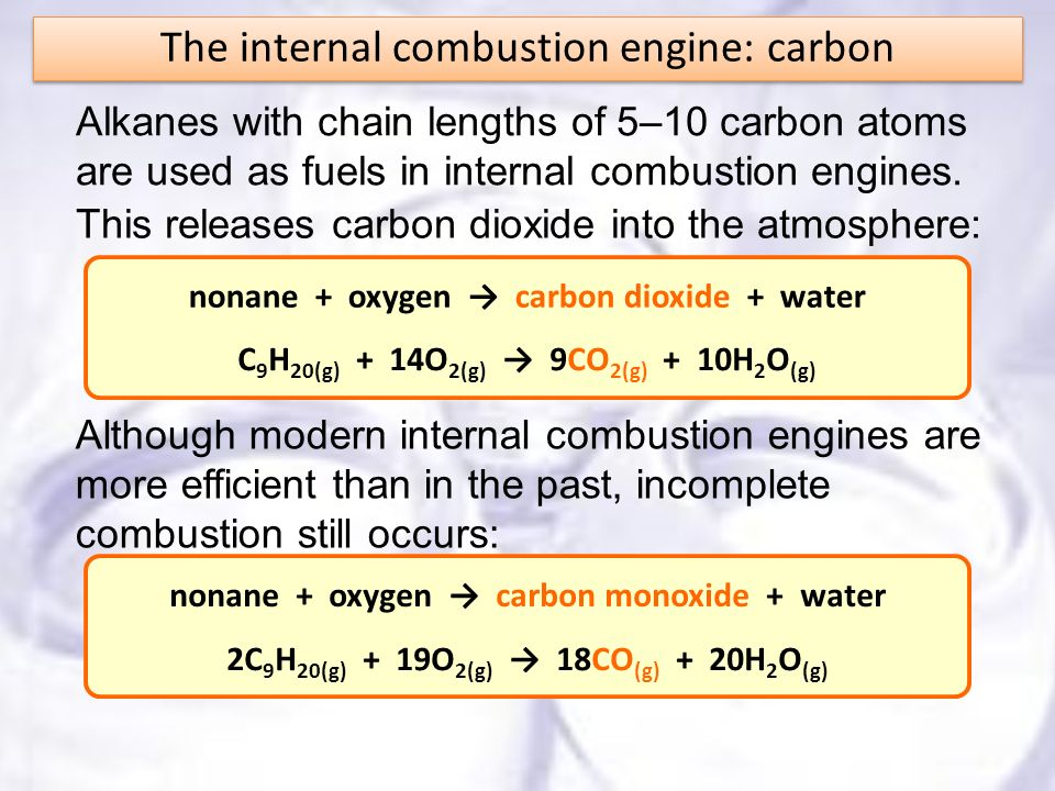 Alkanes with chain lengths of 5–10 carbon atoms are used as fuels in internal combustion engines. This releases carbon dioxide into the atmosphere: no